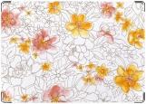 Обложка на автодокументы с уголками, цветочки