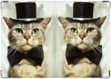 Обложка на паспорт с уголками, Кот в шляпе и с бабочкой