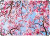 Обложка на паспорт с уголками, цветущая вишня