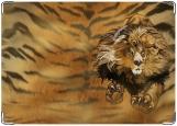 Обложка на автодокументы с уголками, lion