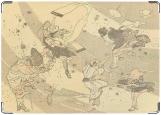 Обложка на автодокументы с уголками, Кацусика Хокусай - внезапный ветер