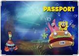Обложка на паспорт с уголками, spongeBob