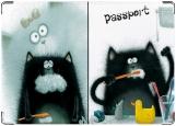 Обложка на паспорт с уголками, Черный кот